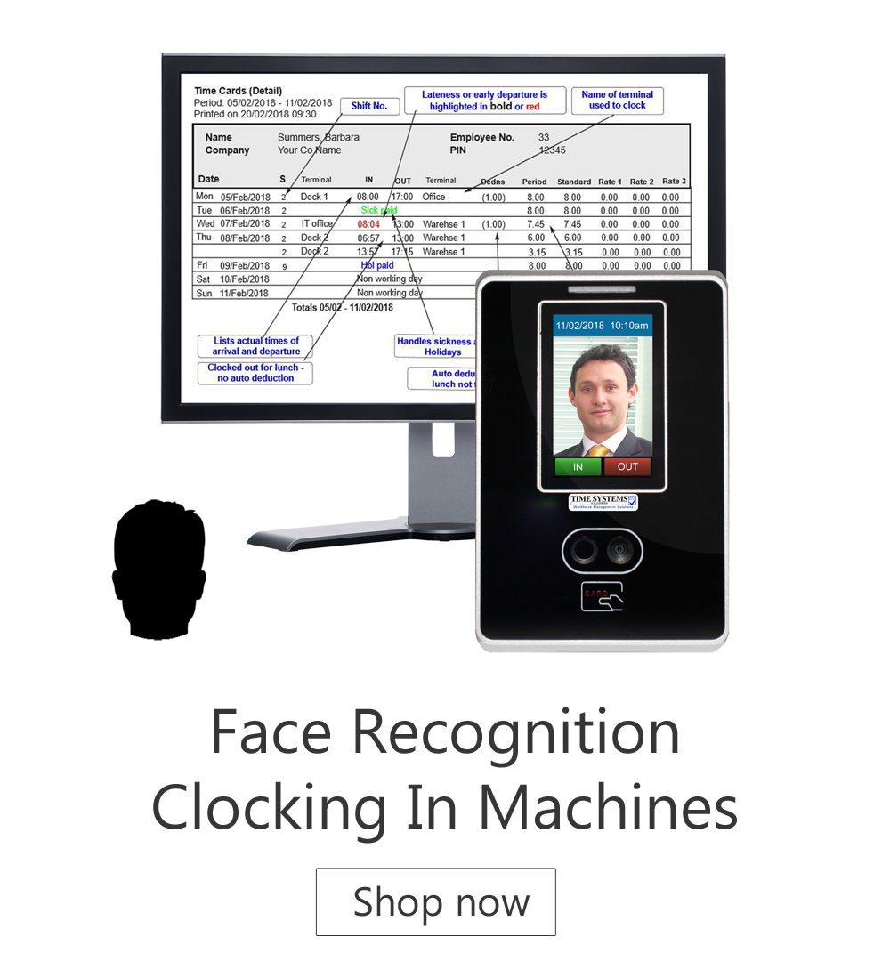 Face recognition - Cocking in Machines - time and attendance systems - biometric clocking in machine