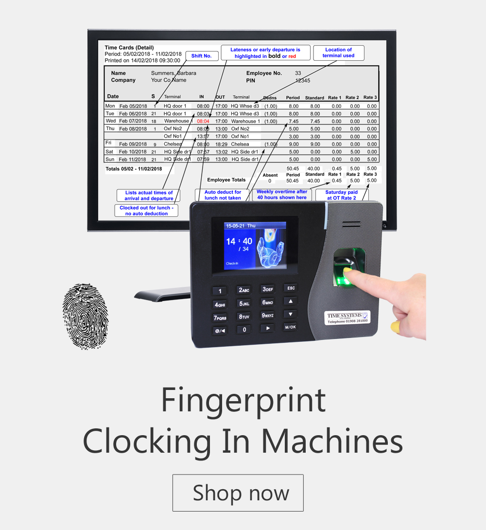 Fingerprint  - Cocking in Machines - time and attendance systems - biometric clocking in machine