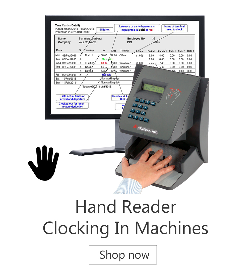 Hand reader - Cocking in Machines - time and attendance systems - biometric clocking in machine