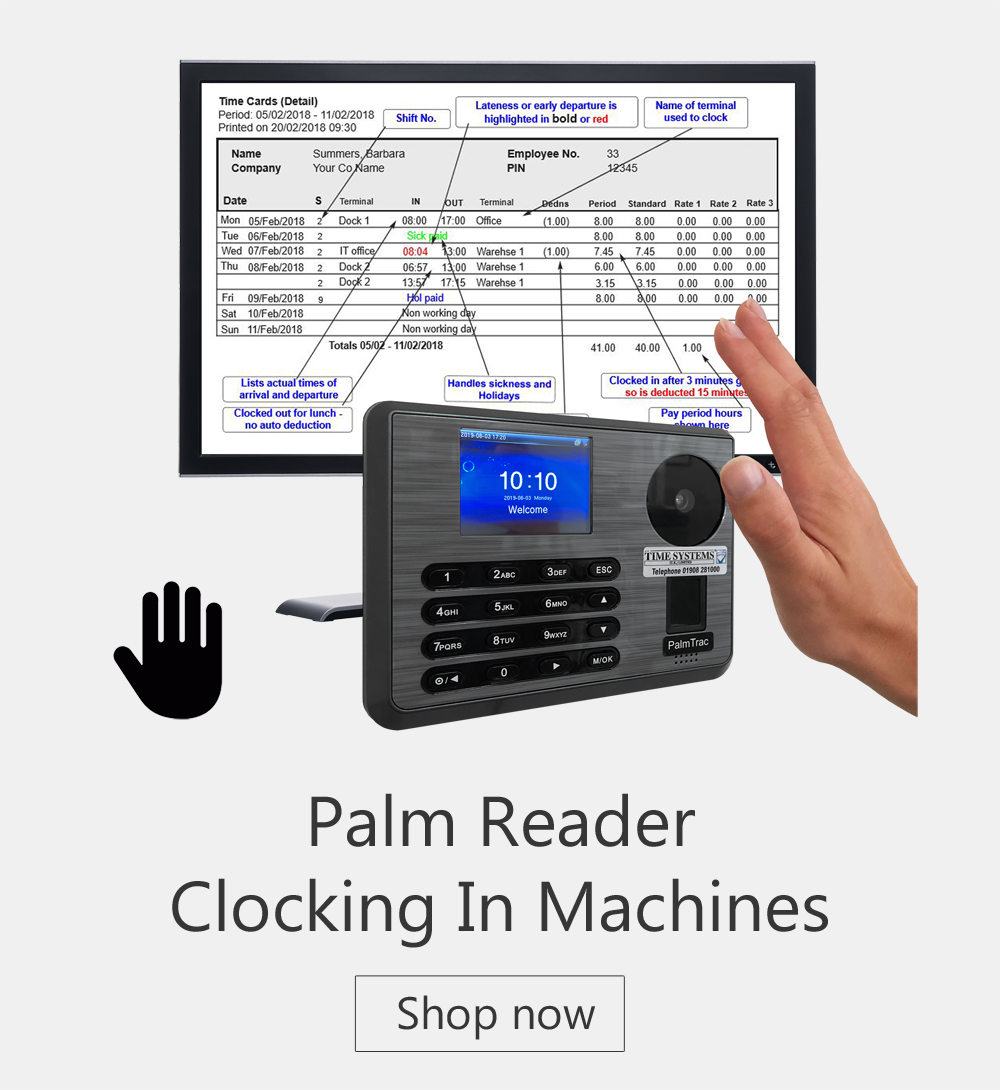 Palm reader - Cocking in Machines - time and attendance systems - biometric clocking in machine - biometric clocking in system uk