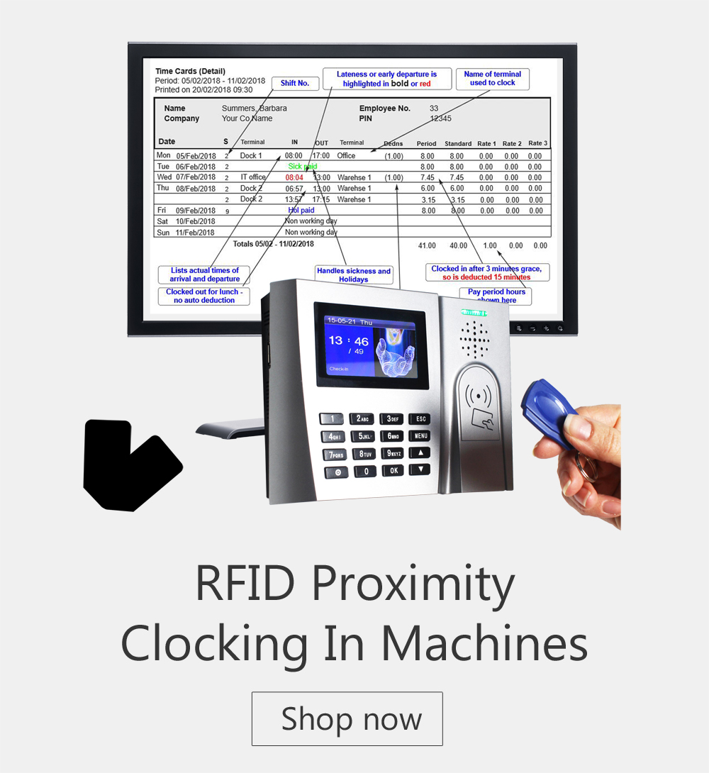 Proximity - Cocking in Machines - time and attendance systems - biometric clocking in machine