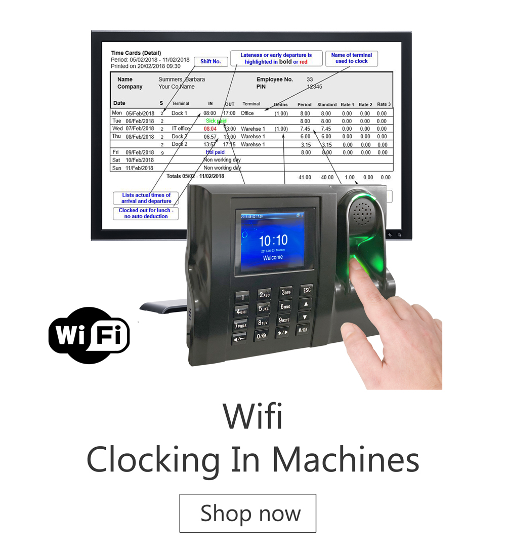 Cocking in Machines - time and attendance systems - biometric clocking in machine - biometric clocking in system uk